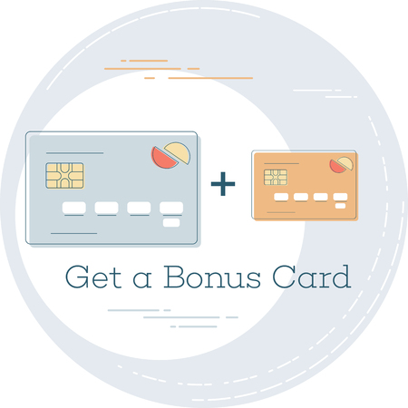 Get a bonus card trendy concept in line art style. Banking and finance, e-commerce service sign, business technology, retail and shopping vector illustration. 일러스트
