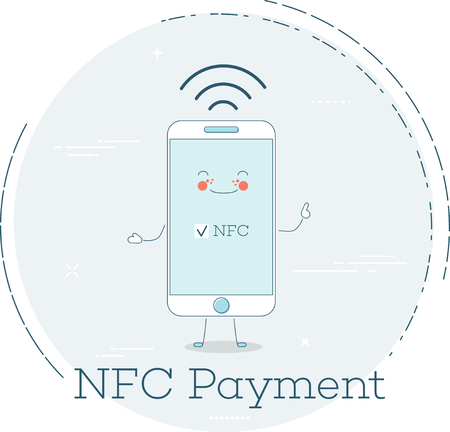 NFC payment trendy concept in line art style. Banking and finance, ecommerce service, business technology, retail and shopping. Smartphone funny character vector illustration