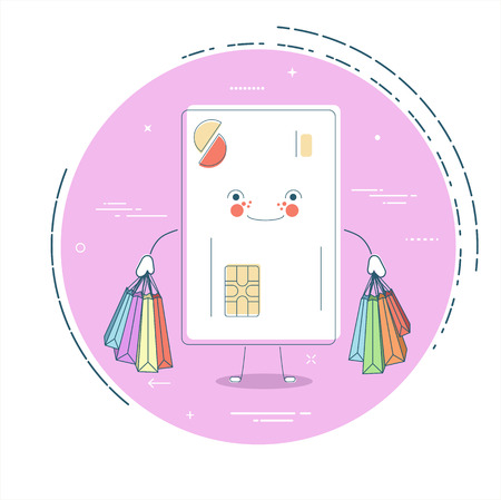 Credit card with shopping bags in line art style