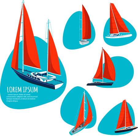 Yacht club stickers with sail boat. Luxury yacht race, sea sailing regatta badge vector illustration. Nautical worldwide traveling company promotion layouts.