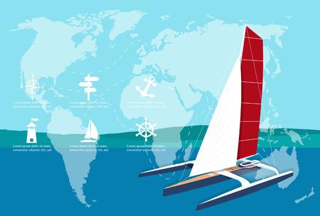 Yacht club banner design with sport trimaran