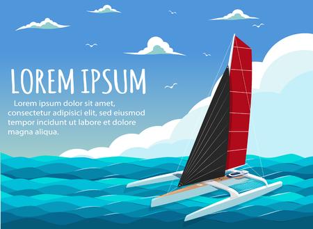 Yacht club banner design with sport trimaran. 일러스트