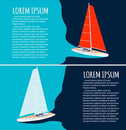 Yacht club flyers design with sport sail boat.