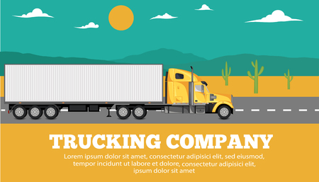 Trucking company banner with container truck