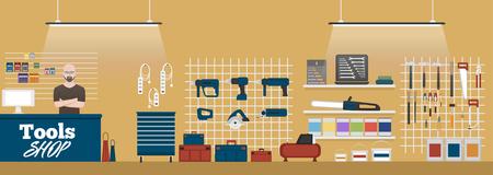 Tools shop banner with instruments Vektorové ilustrace