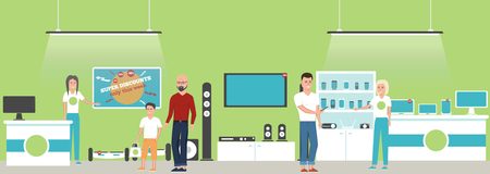 Electronics store banner with shopping people