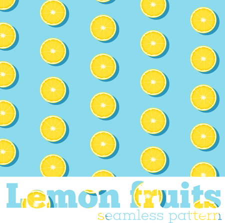 Seamless pattern with fresh lemons on blue background