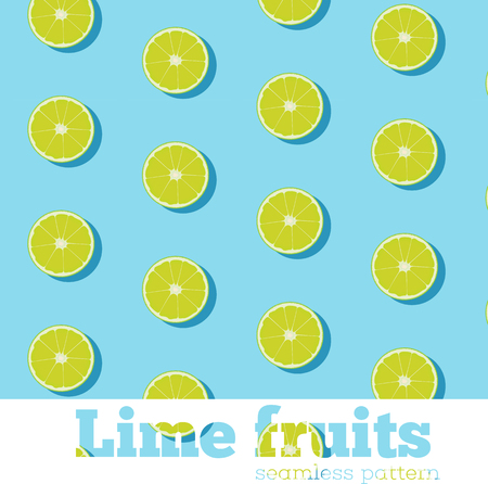 Seamless pattern with fresh limes on blue background