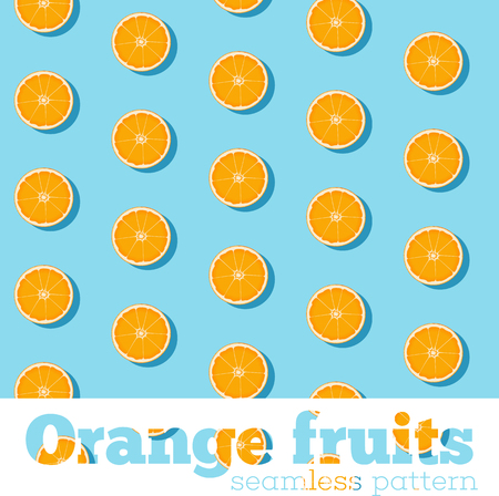 Seamless pattern with fresh oranges on blue background