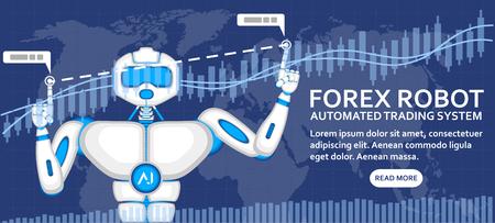 Concept de robot Forex avec robot AI et diagramme financier. Système de trading automatisé, courtage informatique, gestion du capital et illustration d'investissement