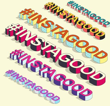 Isometric hashtag - instagood. Internet blogging
