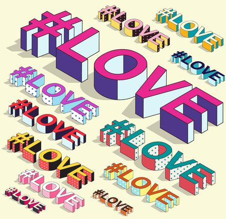Isometric hashtag - love. Internet blogging