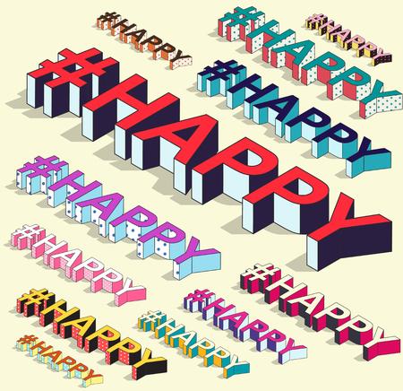 Isometric hashtag - happy. Internet blogging