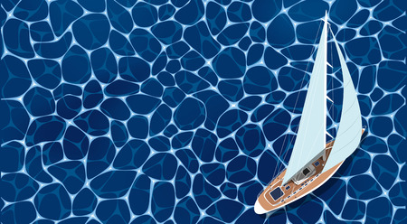 Top view sail boat on water