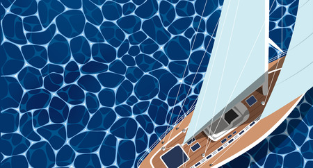 Sailing ship banner with space for text. Top view sail boat on deep blue sea water. Luxury yacht race, ocean sailing regatta vector. Nautical worldwide yachting or traveling. Yacht sailing layout.