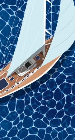 Sailing ship vertical flyer with space for text. Top view sail boat on deep blue sea water. Luxury yacht race, ocean sailing regatta vector. Nautical worldwide yachting or traveling. Sailing boat