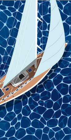 Sailing ship vertical flyer with space for text. Top view sail boat on deep blue sea water. Luxury yacht race, ocean sailing regatta vector. Nautical worldwide yachting or traveling. Yachting sport Illustration