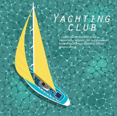 Barco de vela vista superior sobre el agua Ilustración de vector