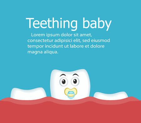 Teething baby banner with tooth