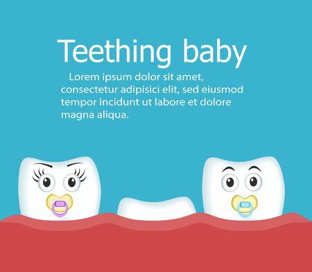 Teething baby banner with teeth