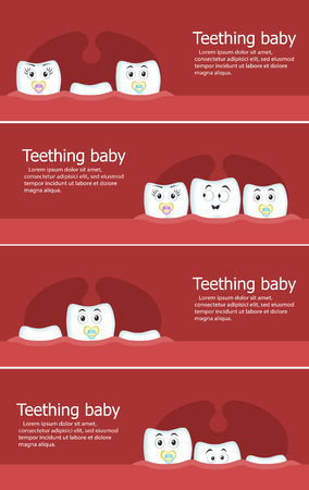 Teething baby flyers with cartoon teeth characters with nipples. Normal growth of baby teeth vector illustration. Kid teeth care and child development. Dental clinic poster with animated teeth