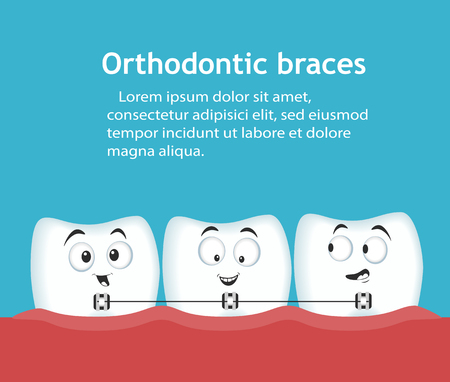 Orthodontic braces banner with teeth characters Vectores