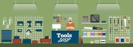 Tools shop banner with instruments vector illustration