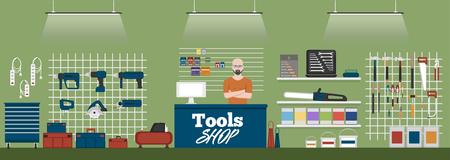 Banner del negozio di strumenti con illustrazione vettoriale di strumenti