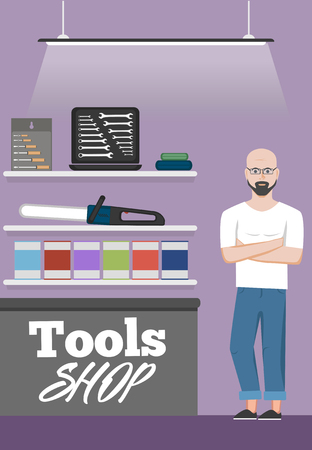 Salesman in tools shop interior banner. Assortment of hand instruments and power tools. Showcase of tool store vector illustration in flat style. Vektorové ilustrace