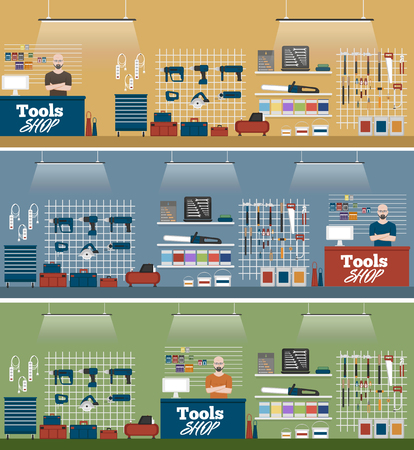 Salesman in tools shop interior banners set. Assortment of hand instruments and power tools. Showcase of tool store vector illustration in flat style.