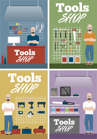 Salesman in tools shop interior banners set. Assortment of hand instruments and power tools. Showcase of tool store vector illustration in flat style. Vektorové ilustrace