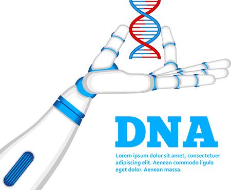 Genetic engineering concept with robot hand