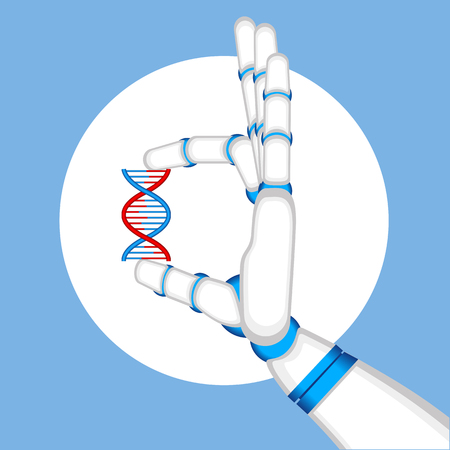 Genetic engineering concept with robot hand