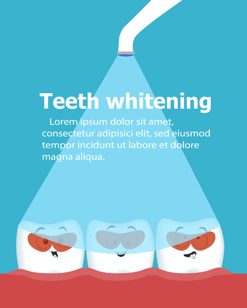 Professional teeth whitening with ultraviolet lamp. Cosmetic dental care procedure. Comic dental characters. Teeth in protective goggles. Stomatology assistance and oral hygiene Ilustração