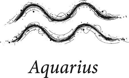 Aquarius astrology sign, hand drawn horoscope zodiac icon. vector Illustration isolated on white background.