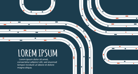 Busy highway road junction. Urban road traffic with cars top view. Overhead view of transport vector illustration. Minimalistic banner. Ilustração