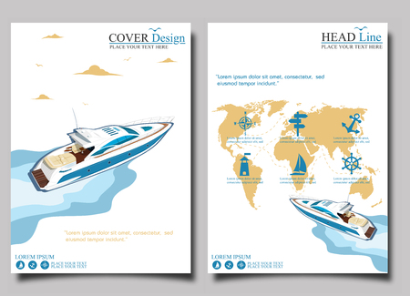 Top view speed boat on water poster. Luxury yacht race, sea regatta posters set vector illustration. Nautical worldwide yachting or speedboat tour promotion layout.