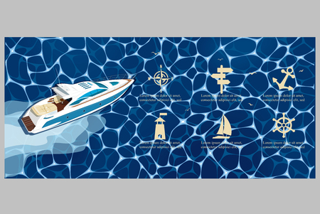 Top view speed boat on water poster. Luxury yacht race, sea regatta poster vector illustration. Nautical worldwide yachting or speedboat tour promotion layout.