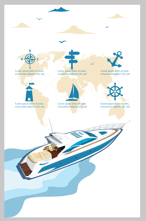 Top view speed boat on water poster