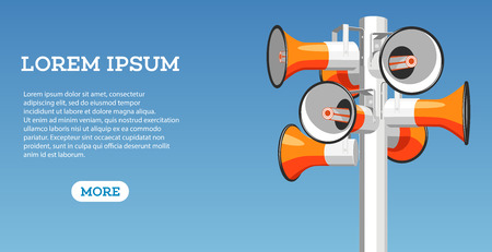 Many megaphones hang on pole vector