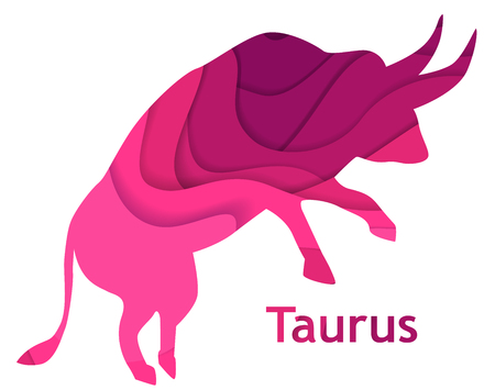 Taurus astrology sign, paper cut style horoscope