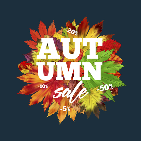 Sale banner with colorful seasonal fall leaves. Shopping discount promotion vector illustration. Bright autumn tree foliage background.