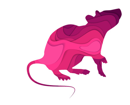 Mouse animal sign in paper cut style Illustration