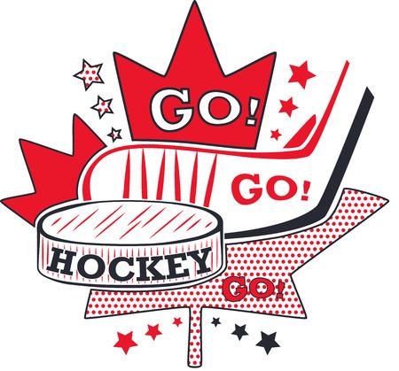 Hockey label in pop art style.