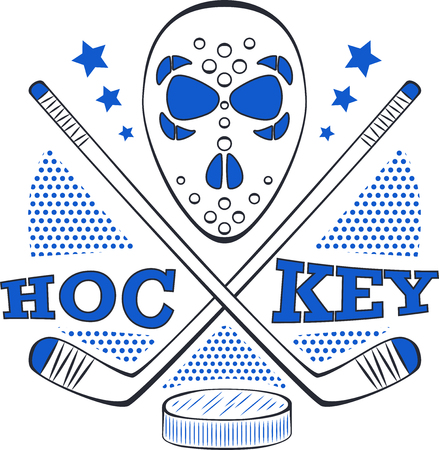 Hockey label in pop art style.