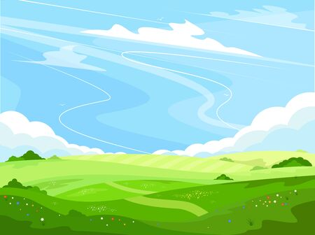 Ecotourism and countryside vacation. Ecology and environment. Rural landscape with green hills and blue sky in cartoon style. Beautiful summer meadow. Spring farmland background vector illustration. Illustration