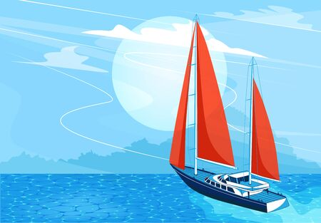 Sailing ship banner in cartoon style