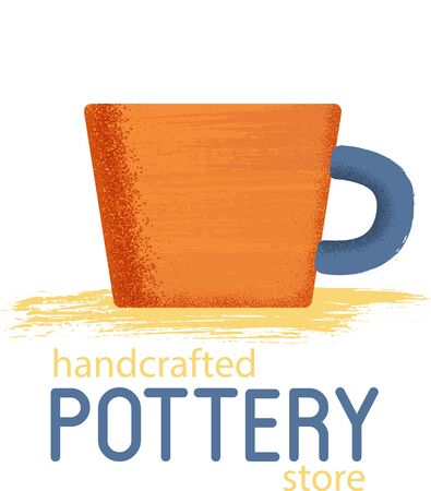 Orange cup with textured shadow on white Illustration