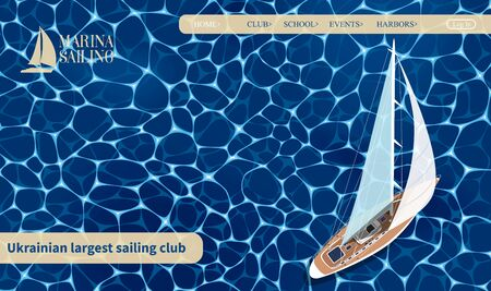 Top view sail boat website template Illustration