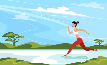Athletic woman sprinter running. Beautiful woman in sportswear. Sport motivation and healthy lifestyle. Rural landscape with green hills and blue sky. Outdoor fitness activity and marathon training.